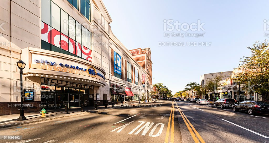 Regal Cinemas and shopping mall in New Rochelle Downtown. stock photo