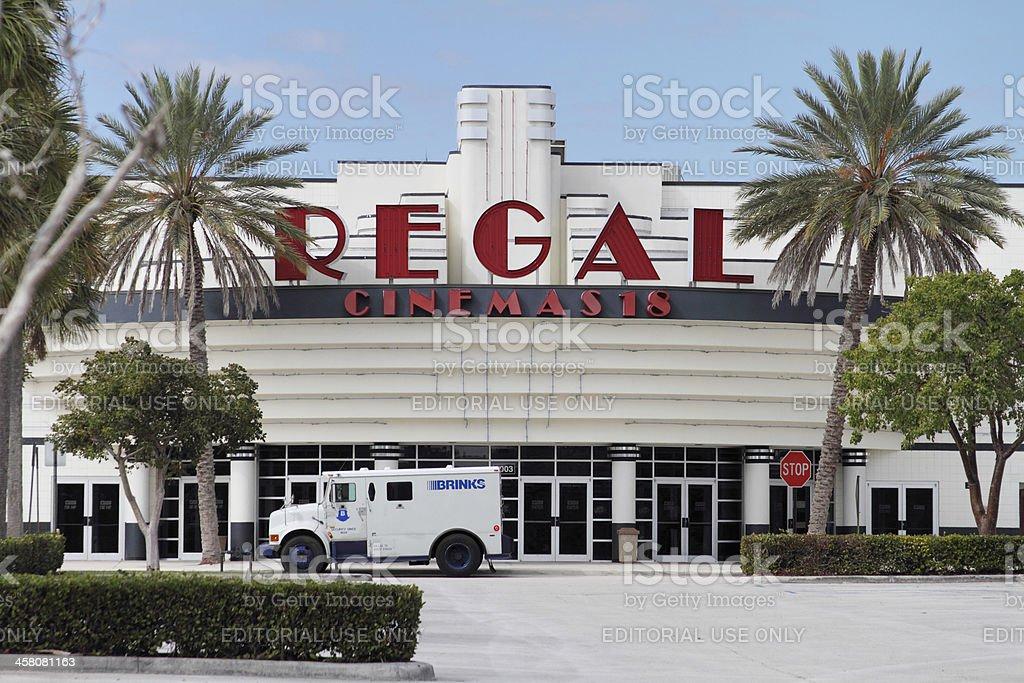 Regal Cinemas with Brinks truck making pickup stock photo