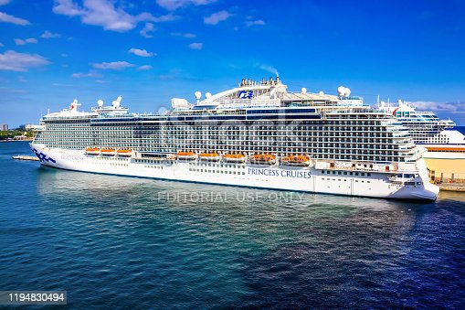 Fort Lauderdale - December 1, 2019: Regal Princess cruise ship docked at seaport Port Everglades at Fort Lauderdale, Florida