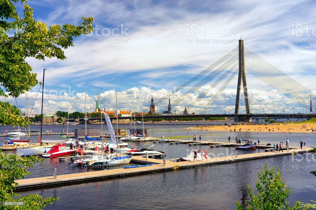 Regatta in summer in Riga stock photo