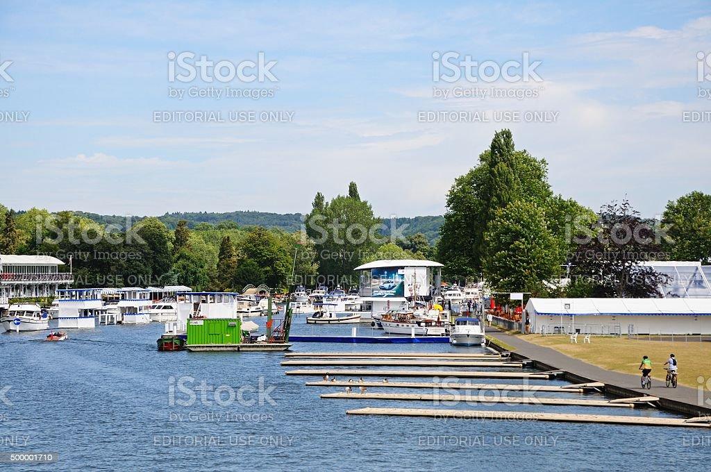 Regatta moorings, Henley-on-Thames. stock photo
