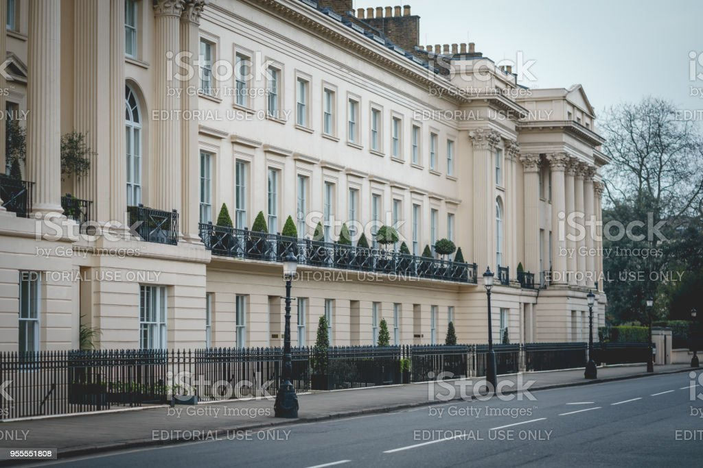 Regency architecture terraced houses in Marylebone, central London (UK). stock photo