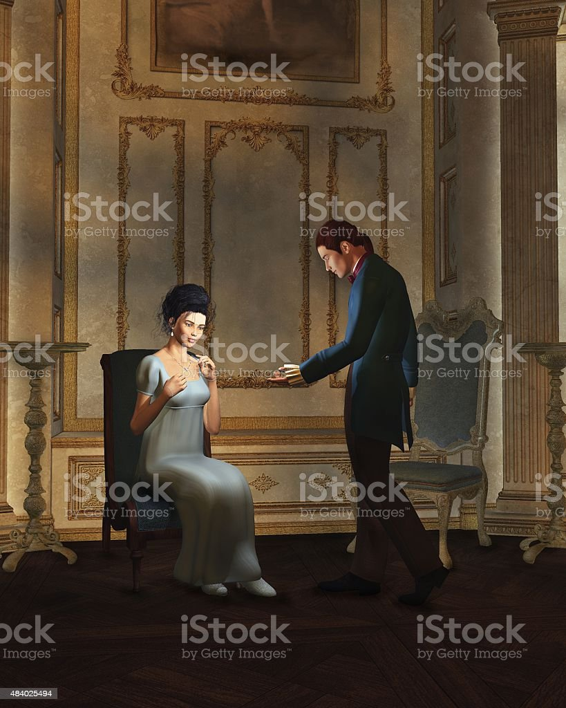 Regency Era Couple in Candlelit Ballroom stock photo
