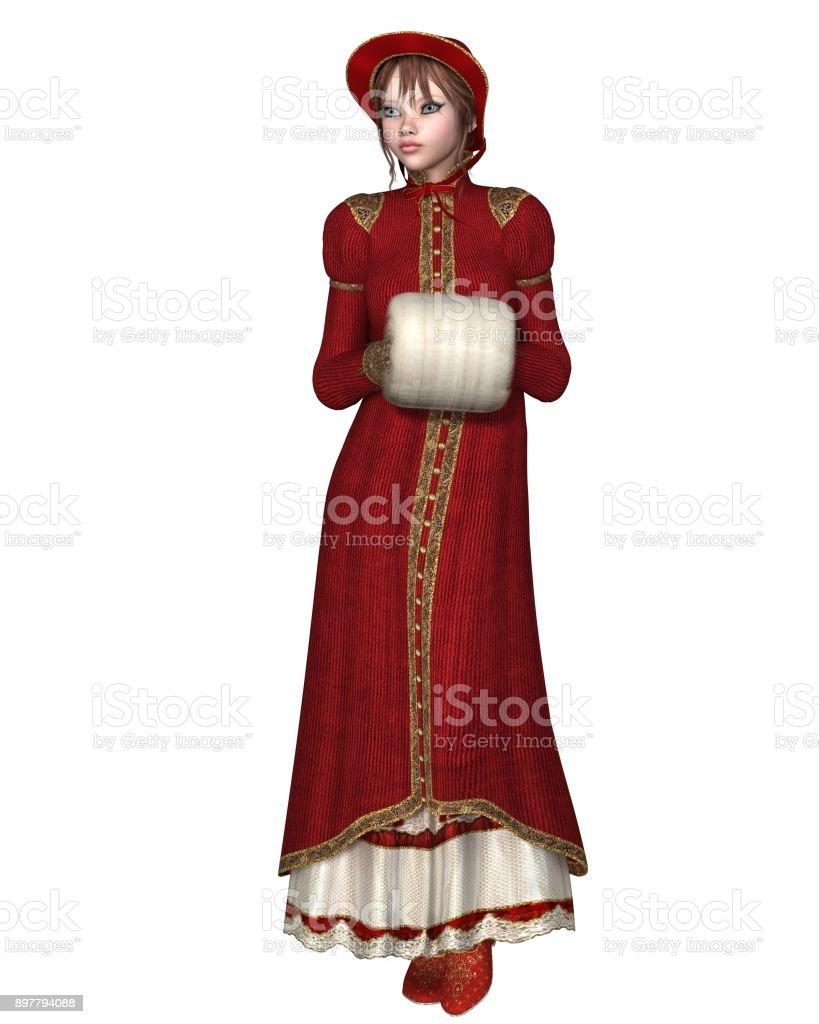 Regency Girl in Red Winter Coat stock photo