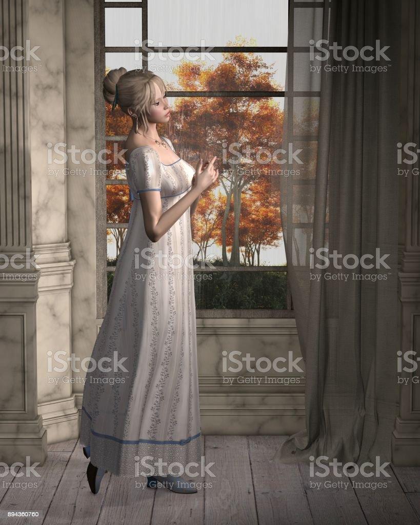 Regency Woman Standing by a Window stock photo