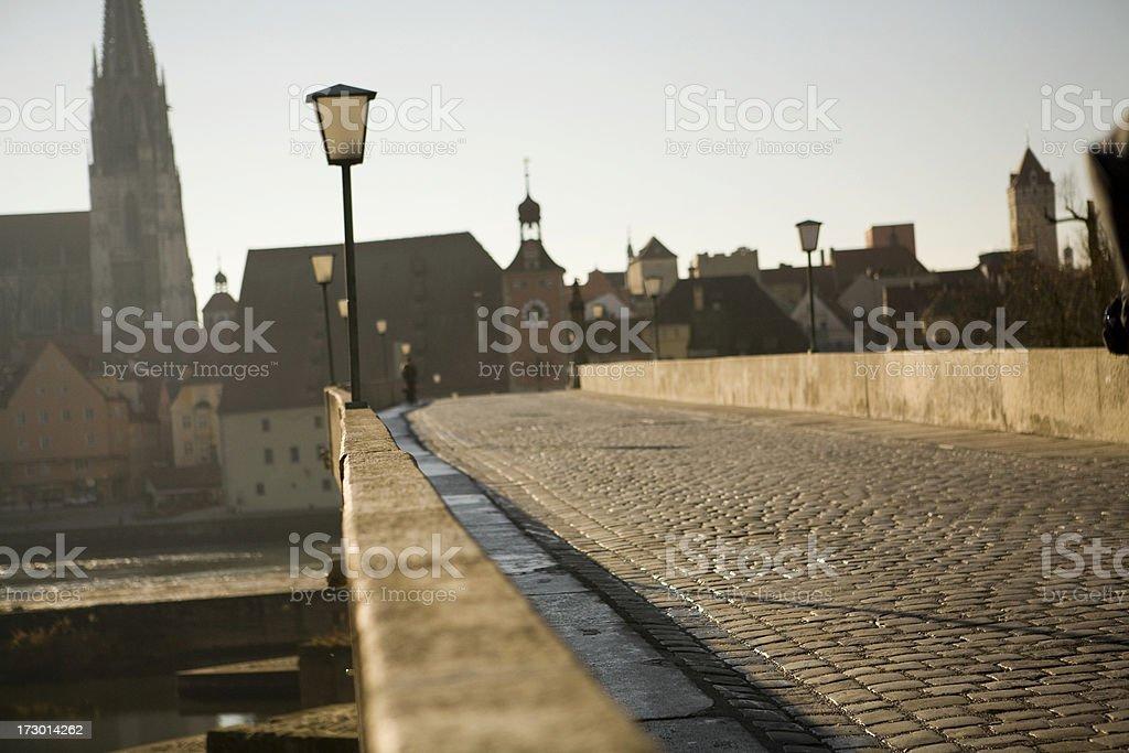Regensburg bridge in Bavaria, Germany stock photo