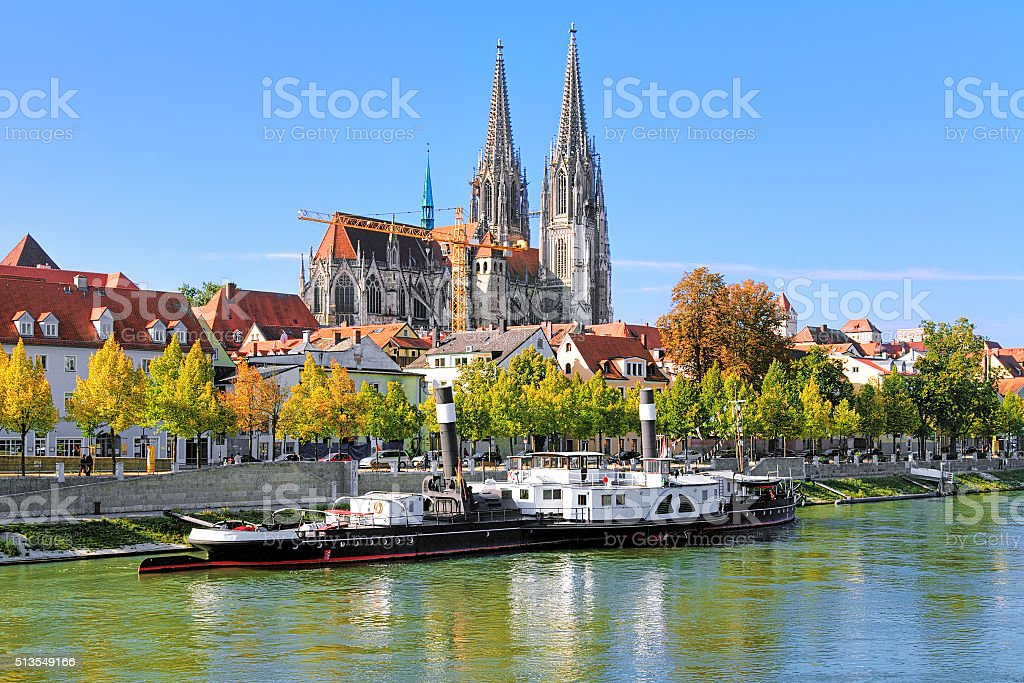 Regensburg Cathedral and old steamship, Germany stock photo