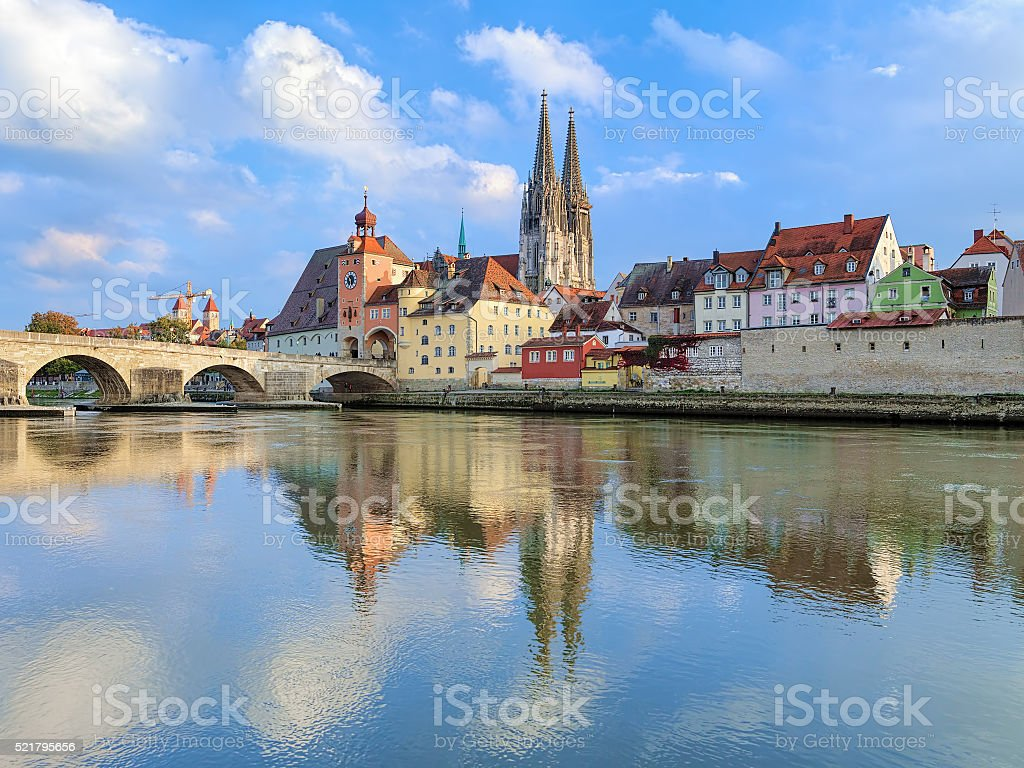 Regensburg Cathedral and Stone Bridge over Danube, Germany stock photo