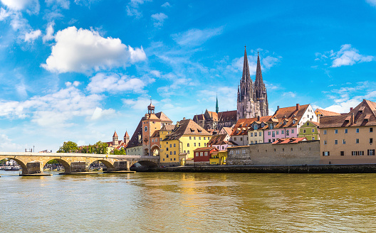 Regensburg and Cathedral, Germany in a beautiful summer day