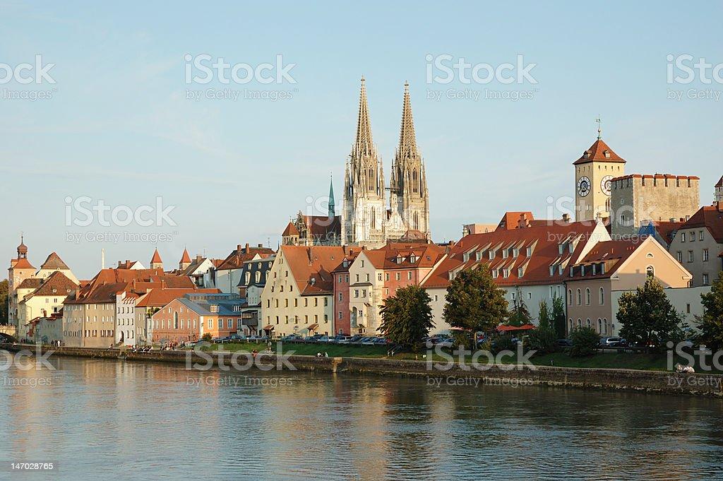 Regensburg embankment,Bavaria,Germany stock photo