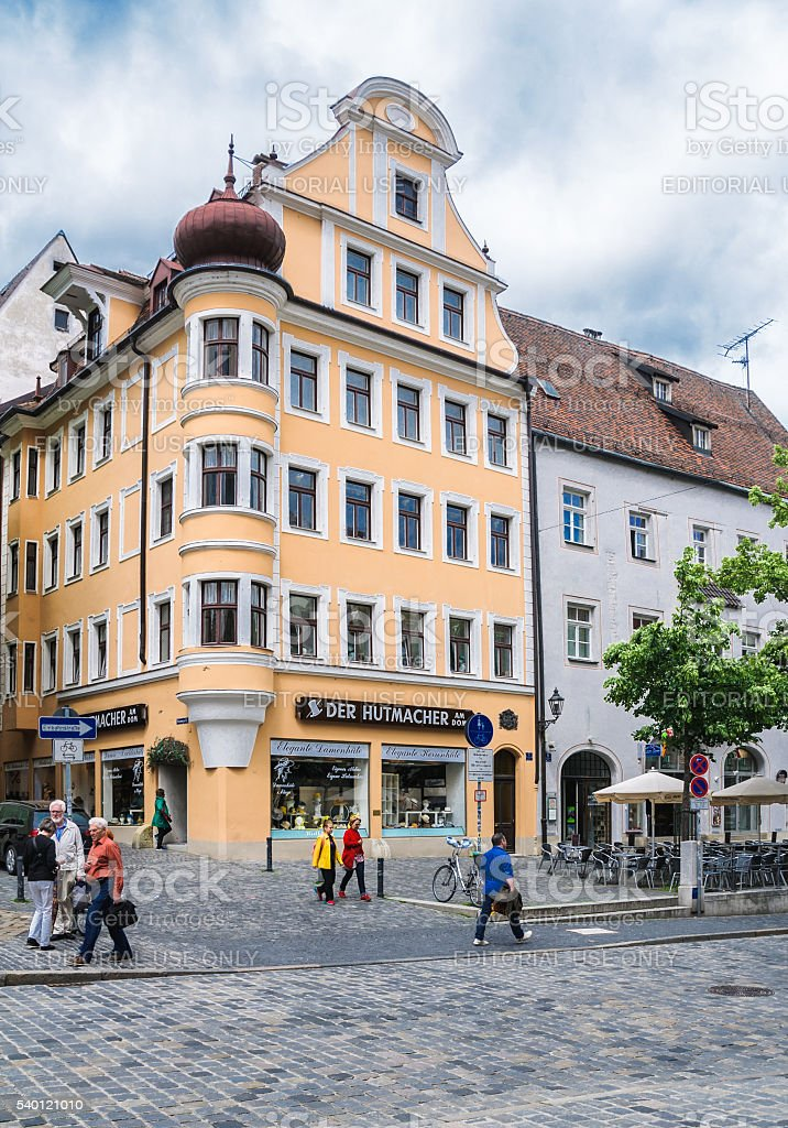 Regensburg Famous Hat Shop stock photo