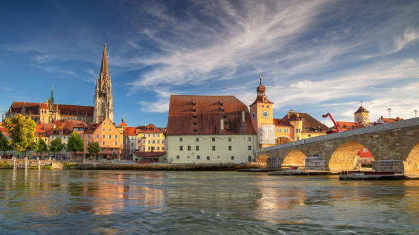 Regensburg, Germany. Panoramic cityscape image of Regensburg, Germany during sunny summer day..