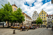 Regensburg old town with beer garden