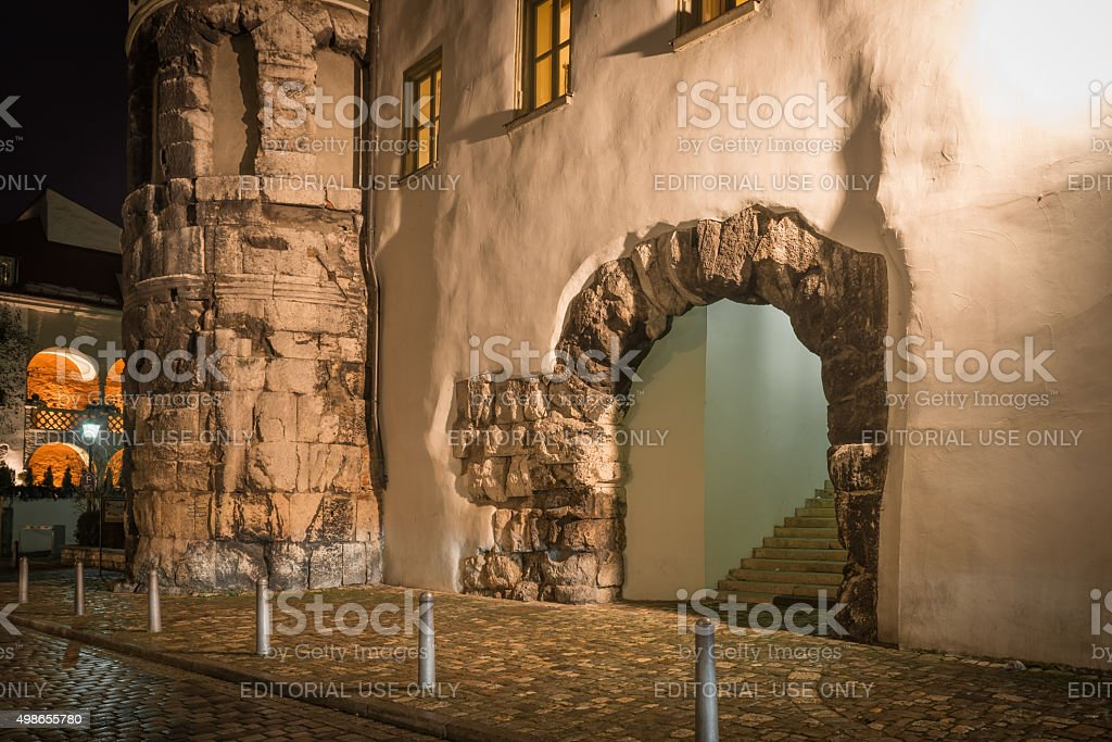 Regensburg Roman Tower remains stock photo