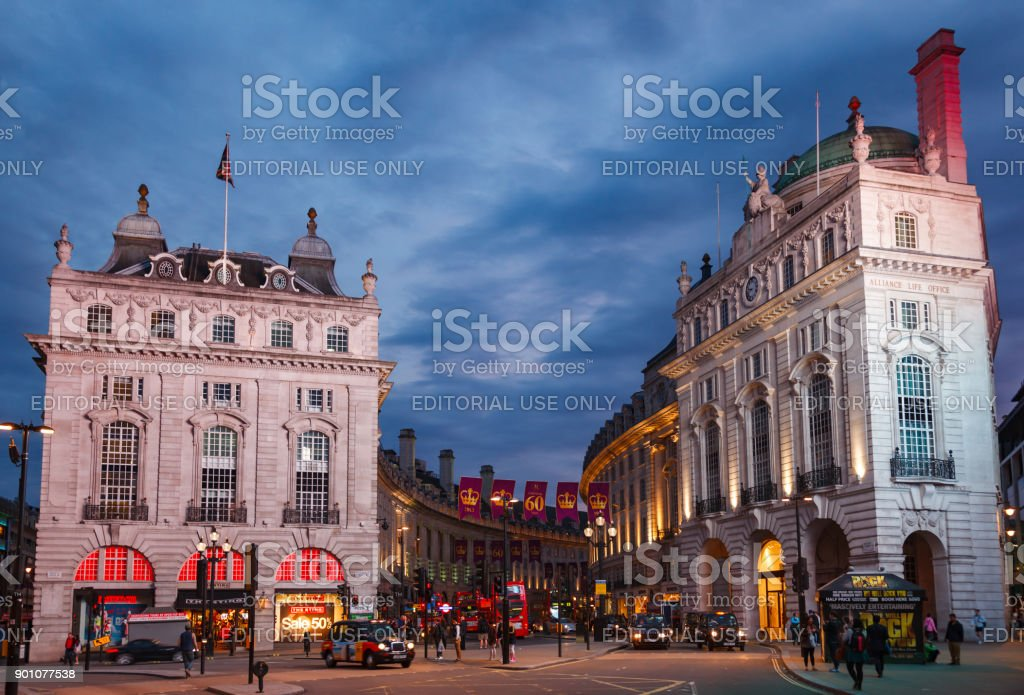 Regent Street and Piccadilly Circus junction West End W1 London UK stock photo