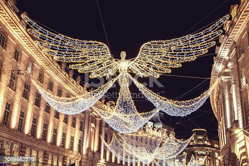Christmas decoration and lights, Regent Street London UK