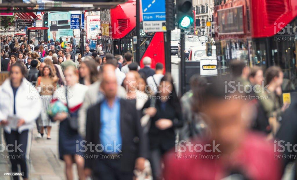 Regent Street crowds stock photo