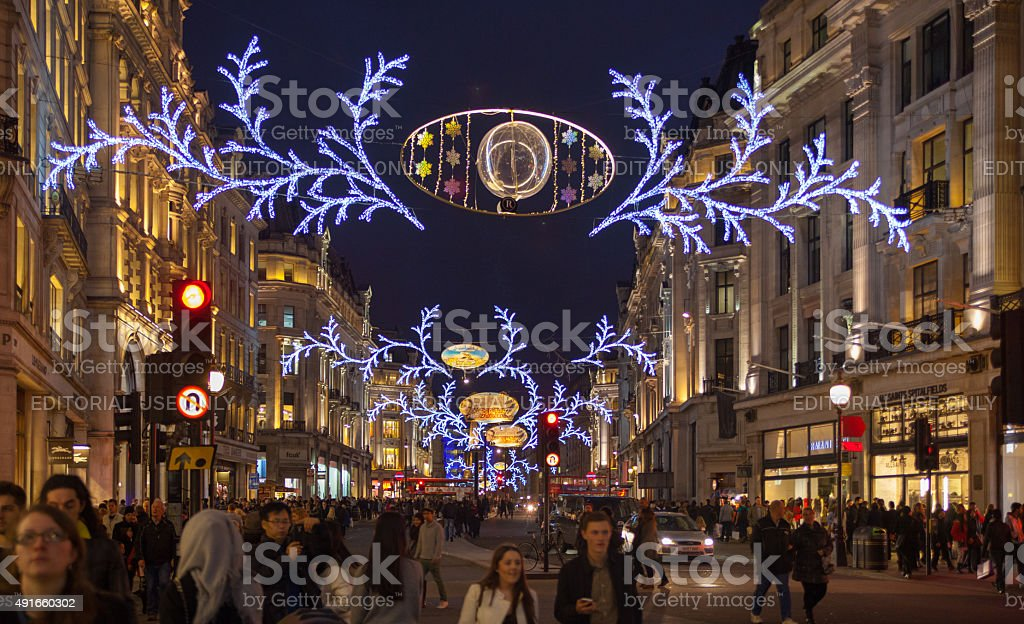 Regent Street On Black Friday Weekend London Christmas Lights Decoration Stock Photo Download Image Now Istock