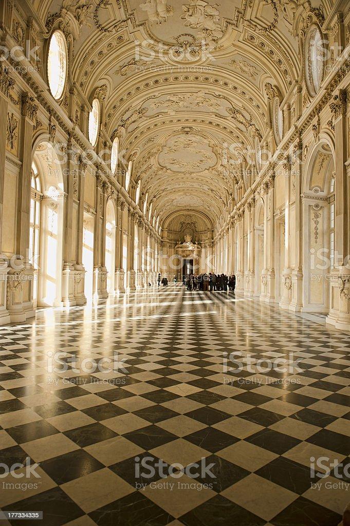 Reggia di Venaria Galleria illuminata dal sole stock photo