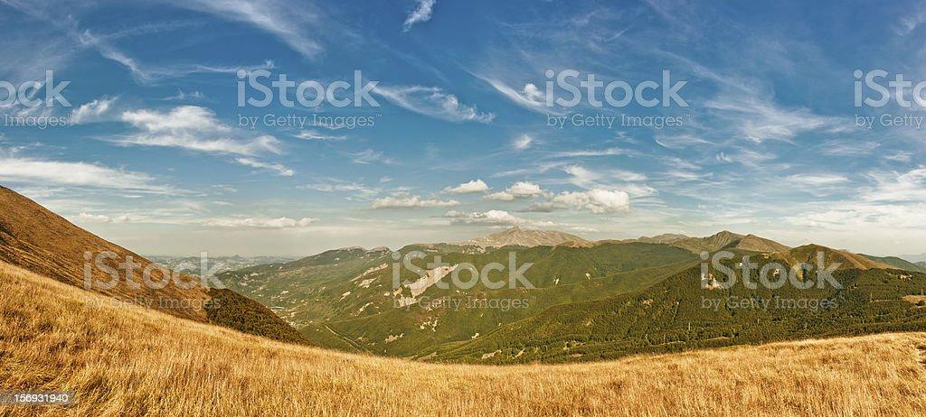 Reggio Emilia Apennines panorama with Cusna mount royalty-free stock photo