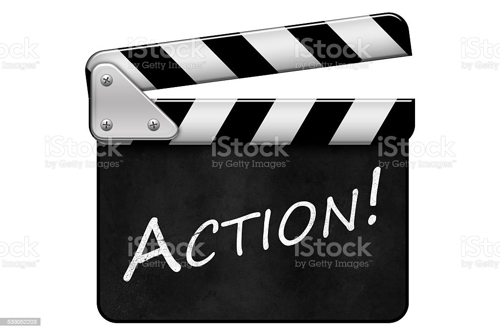 Regieklappe, Movie Clapper, Filmklappe, Action stock photo