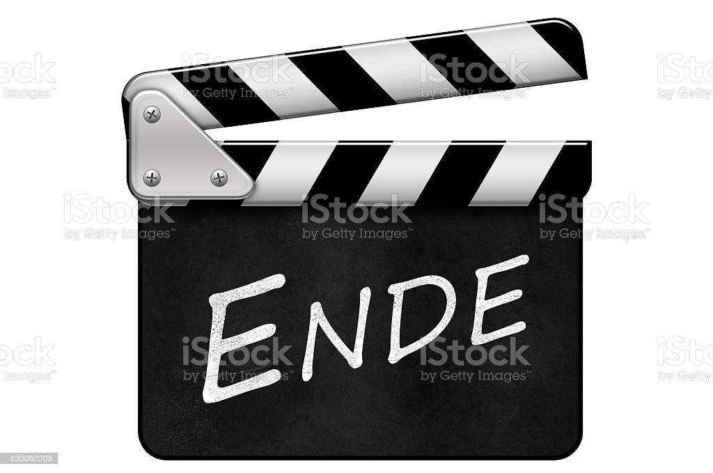 Regieklappe, Movie Clapper, Filmklappe, Ende stock photo