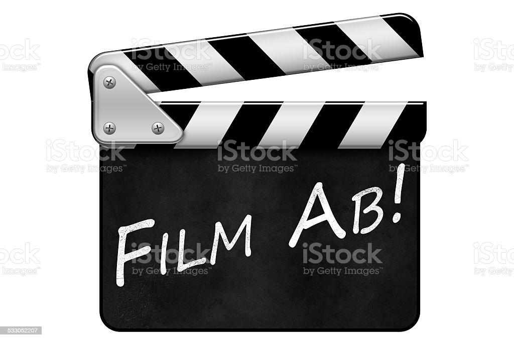 Regieklappe, Movie Clapper, Filmklappe, Film Ab stock photo