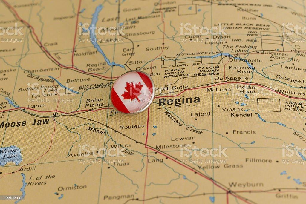 Regina Canada è Contrassegnato Con Flag Dei Perni Mappa Foto Di