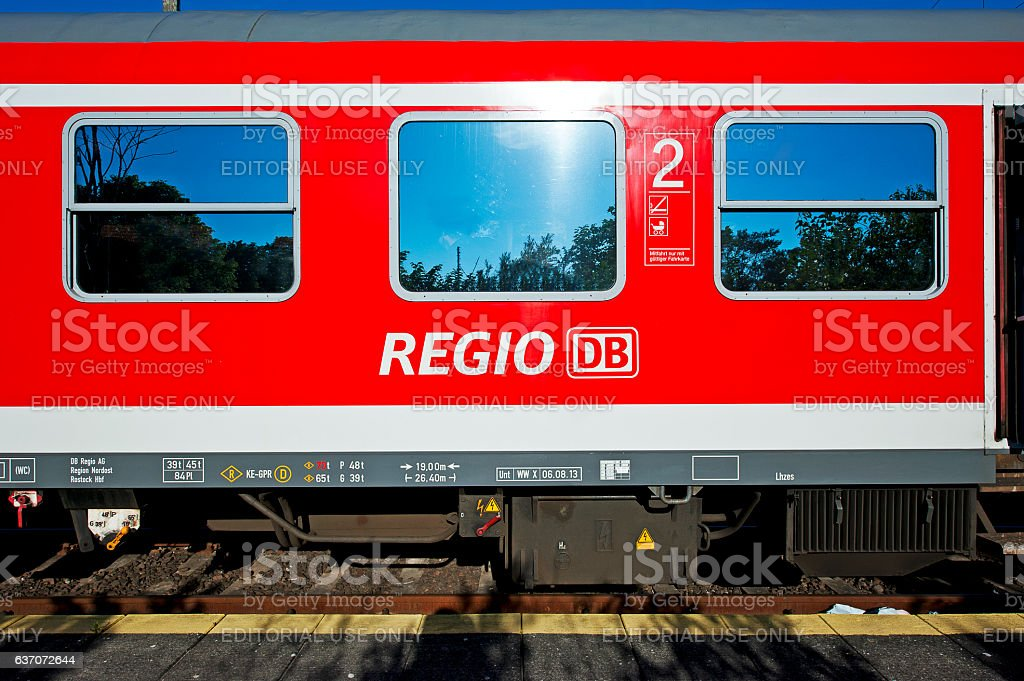 Regio red carriages, Berlin, Germany stock photo