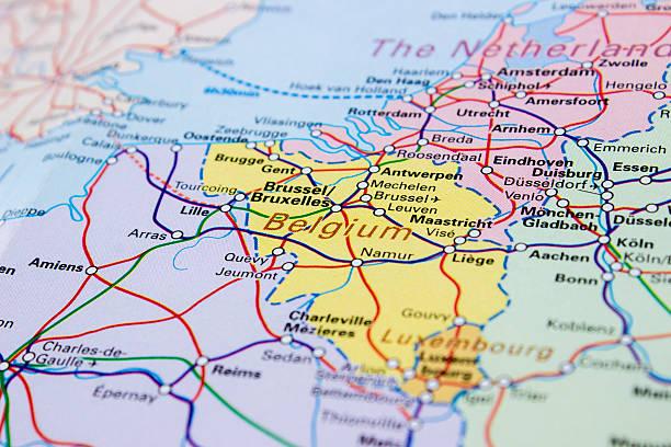 Regional and high-speed railroad tracks map of Belgium stock photo
