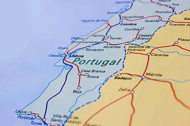 regionais e de alta velocidade ferroviária faixas mapa de portugal - portugal map imagens e fotografias de stock