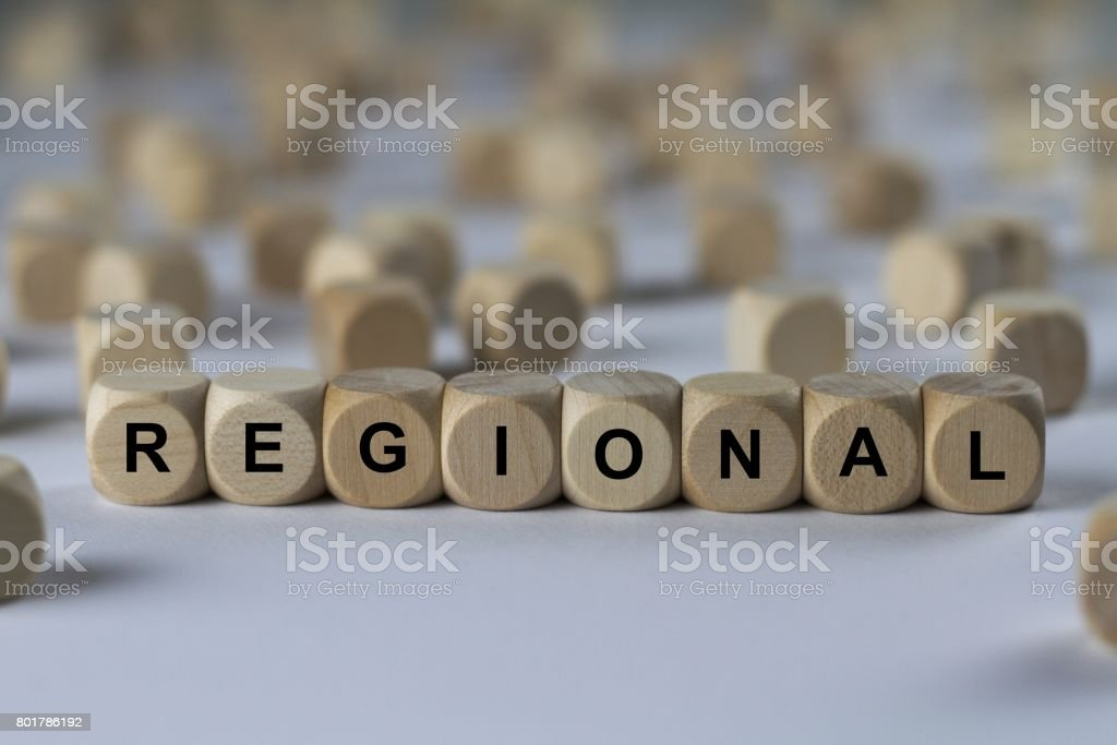 regional - cube with letters, sign with wooden cubes stock photo