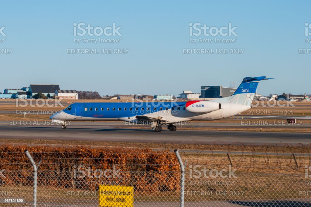 BMI regional Embraer ERJ-145 airplane in Copenhagen airport stock photo