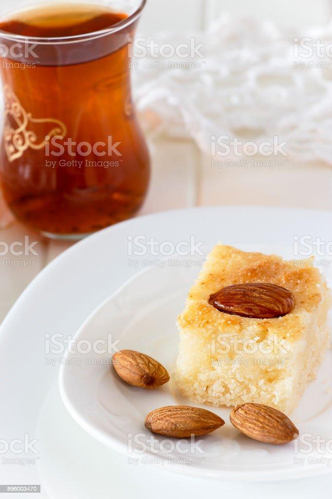 Regional Food Backgrounds Piece Basbousa Traditional Arabic