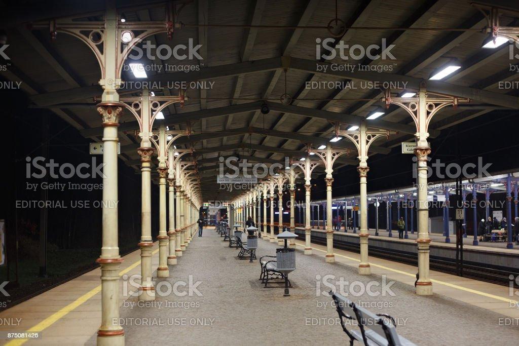 Regional platform in Sopot railway station. stock photo