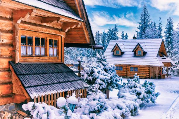 겨울, 자 코 파 네, 폴란드에서에서 지역 스타일 목조 주택 - 카르파티아 산맥 뉴스 사진 이미지