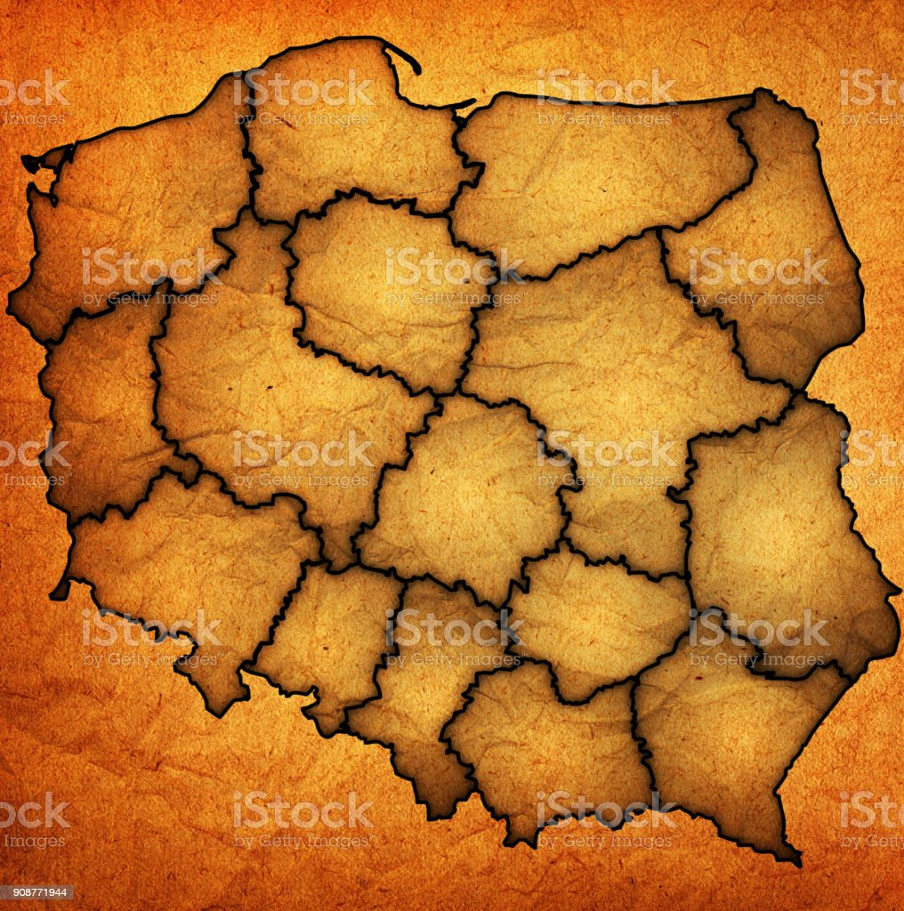regions on vintage administration map of poland stock photo