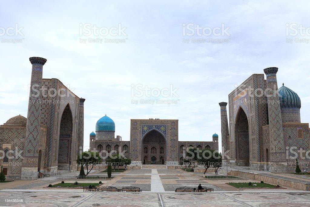 Registan and its three madrasahs in Samarkand stock photo