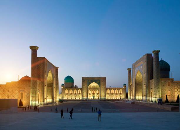 Registan Square, central square of  Samarkand at night. Uzbekistan