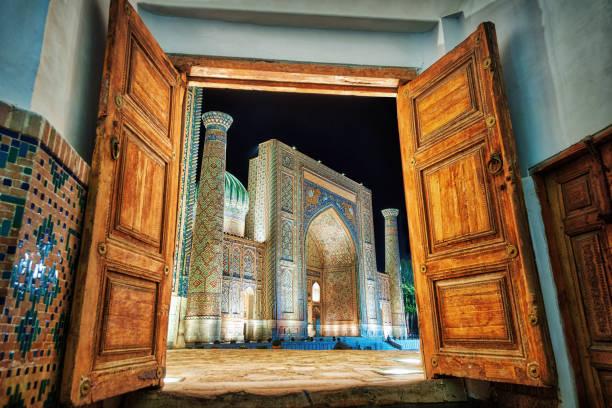 Registan Square in the City Center of Samarkand in Uzbekistan stock photo