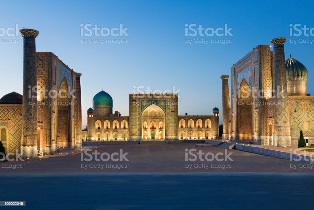Registan Square, Samarkand, Uzbekistan. stock photo