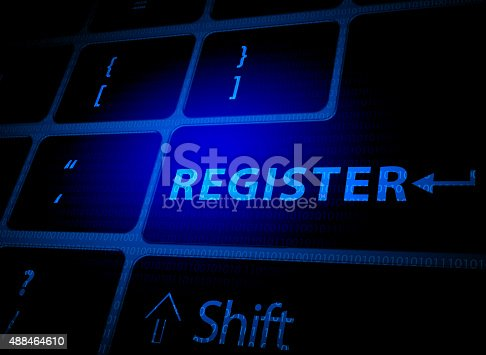 istock Register button on computer keyboard 488464610
