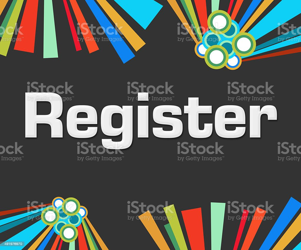 Register Dark Colorful Elements stock photo