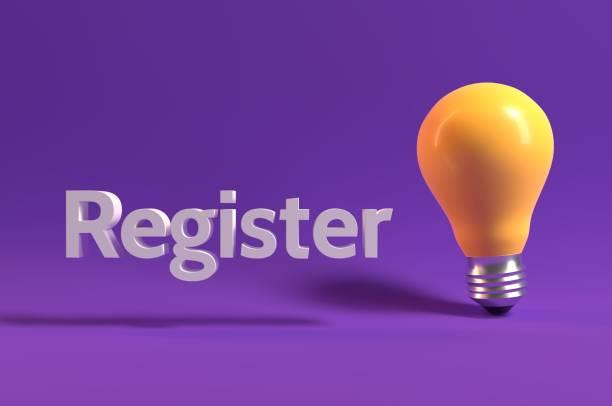 Register Here stock photo