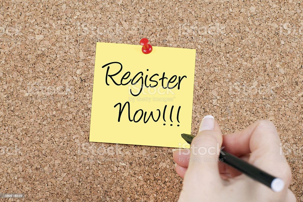 Register Now!!! stock photo