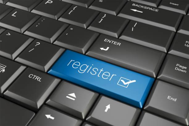 Register online Register online on keyboard key register stock pictures, royalty-free photos & images