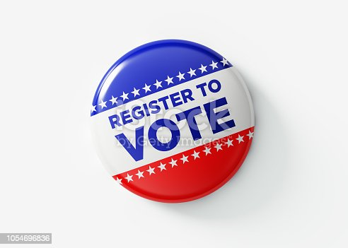 Register to vote badge for elections in the United States of America. Isolated on white background. Great use for election and voting concepts. Clipping path is included.