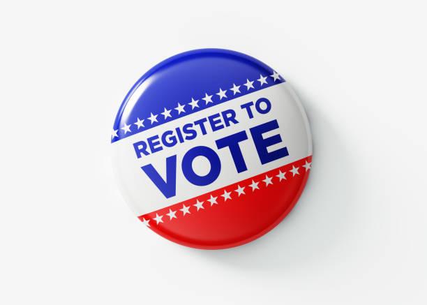 register to vote badge for elections in usa - выборы президента стоковые фото и изображения