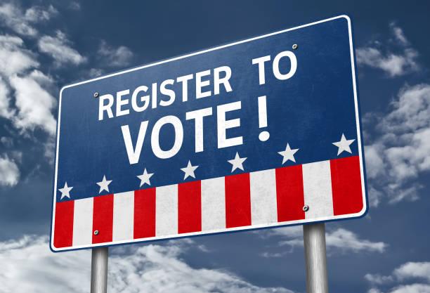 Register to Vote - roadsign information stock photo