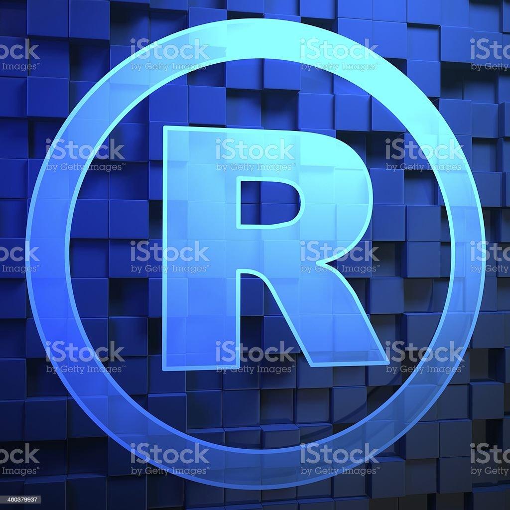 Registered mark on blue background stock photo